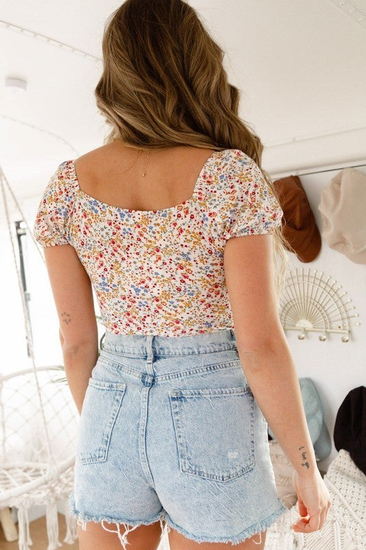 Short Sleeve Floral Print Ruched Knit Bodysuit