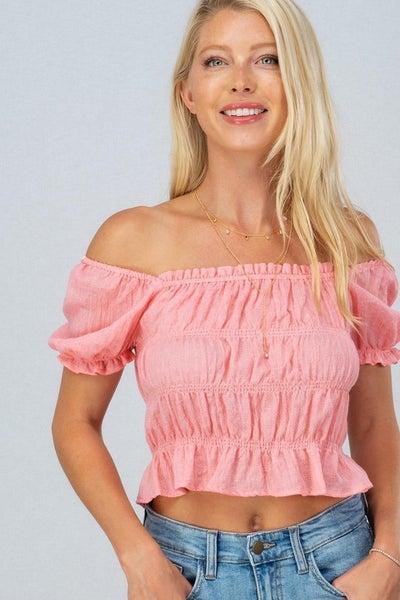 Pink Ruffle Hem Cinch Cap Sleeve Top
