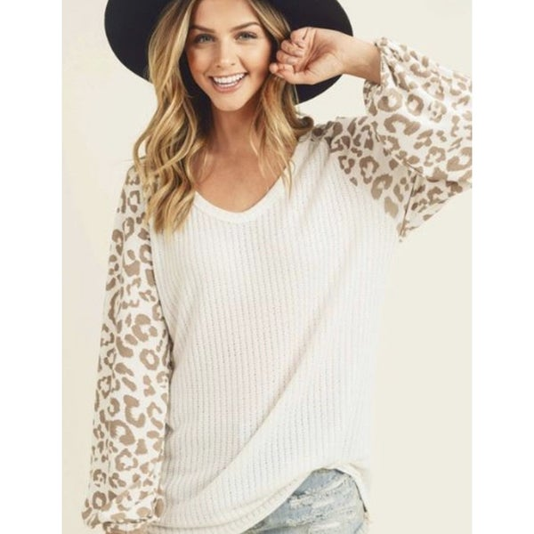 V-Neck Leopard Print Sweater *Final Sale*