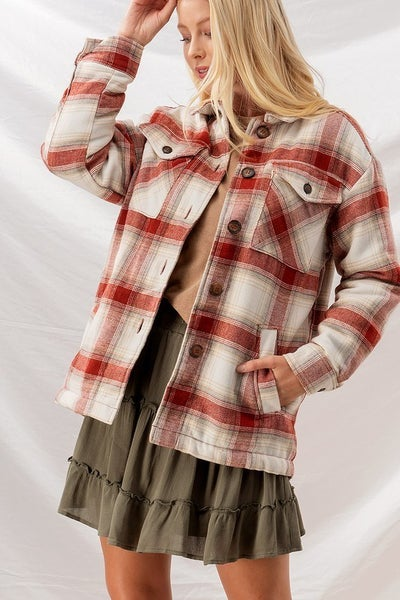 Checkered Sherpa Lining Oversized Button Jacket