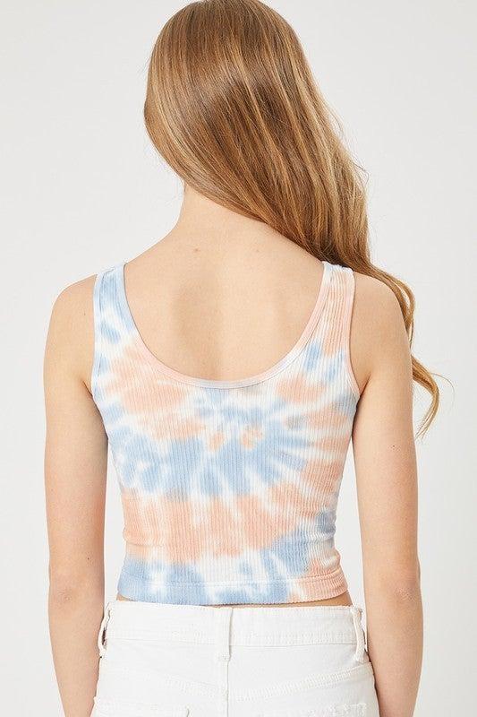 Tie Dye Crinkle Seamless Knit Top