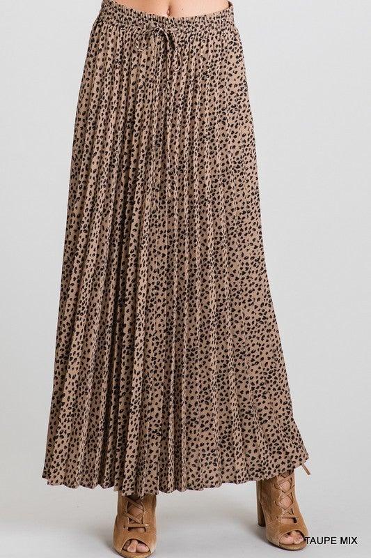 Leopard Print Drawstring Pleated Maxi Skirt