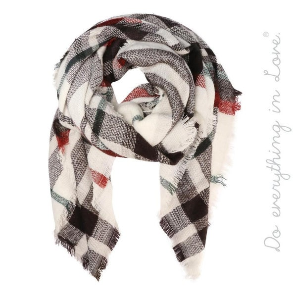 Plaid Print Blanket Scarf with Frayed Trim