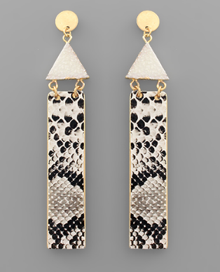 Triangle Druzy & Leather Bar Earrings