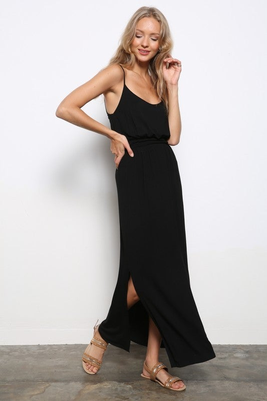 Black Cami Strappy Back Maxi Dress