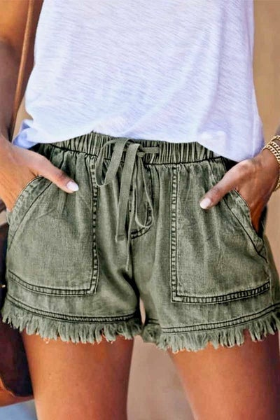 Military Green Washed Out Vintage Shorts