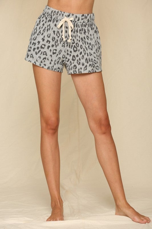 Knit Leopard Printed Hacci Shorts