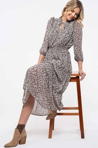 Black Multi Prairie Ruffle Dress *Final Sale*