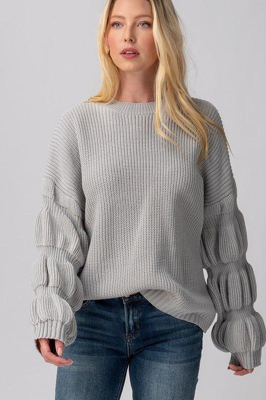 Grey Texture Knit Balloon Sleeve Sweater