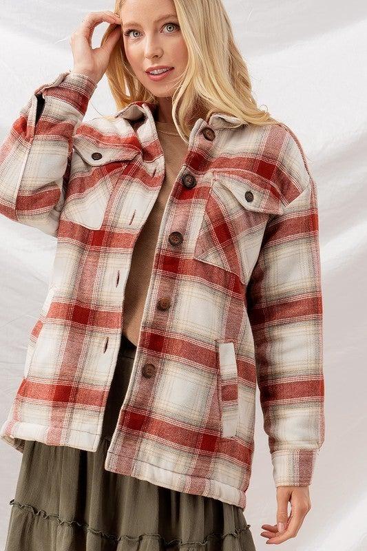 Checkered Sherpa Lining Oversized Button Jacket