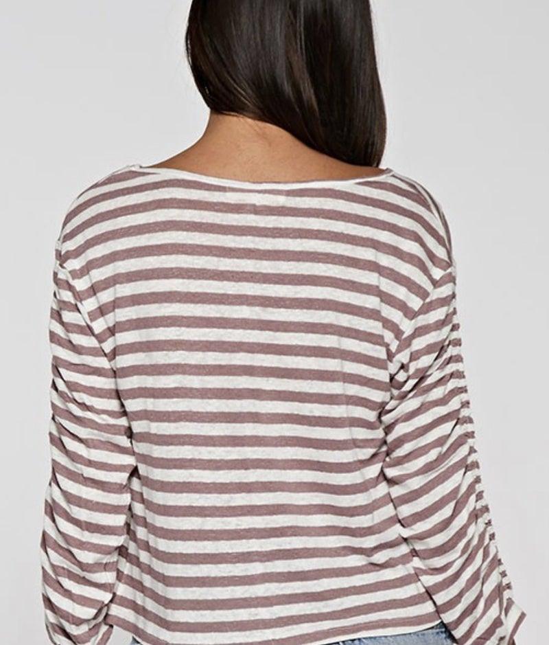 Boatneck Striped Knit Top