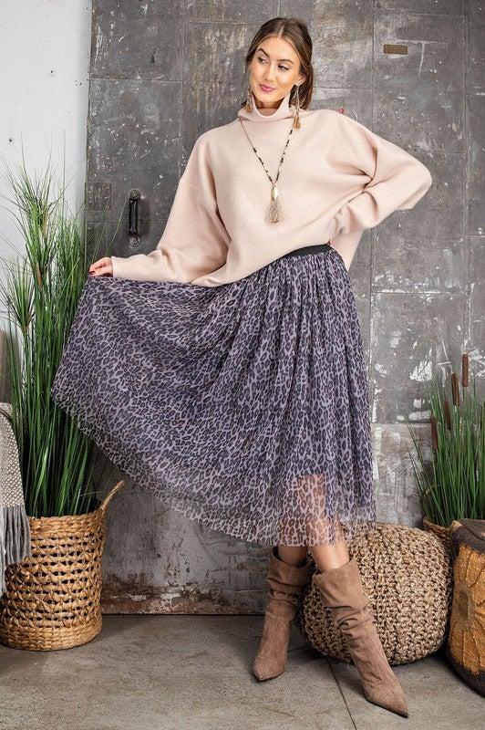 Leopard Printed Mesh Ballerina Skirt