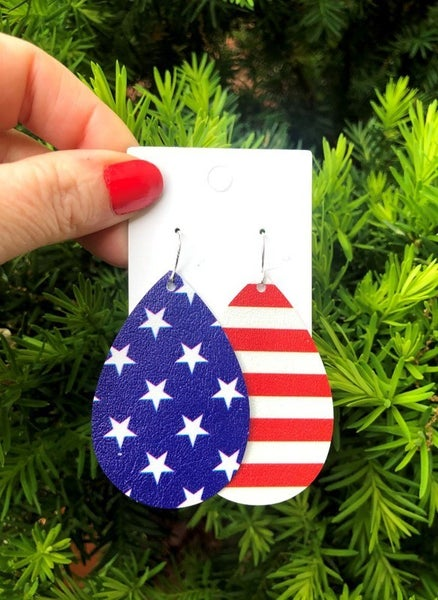 Stars & Stripes Double Sided Faux Leather Earrings