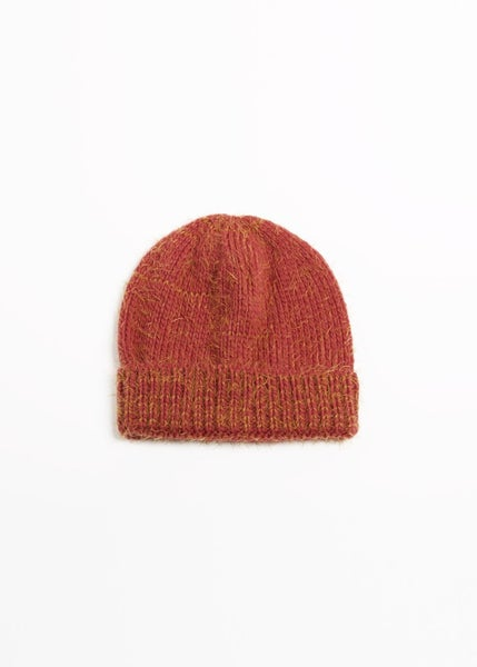 Red Two-tone Eyelash Knit Beanie