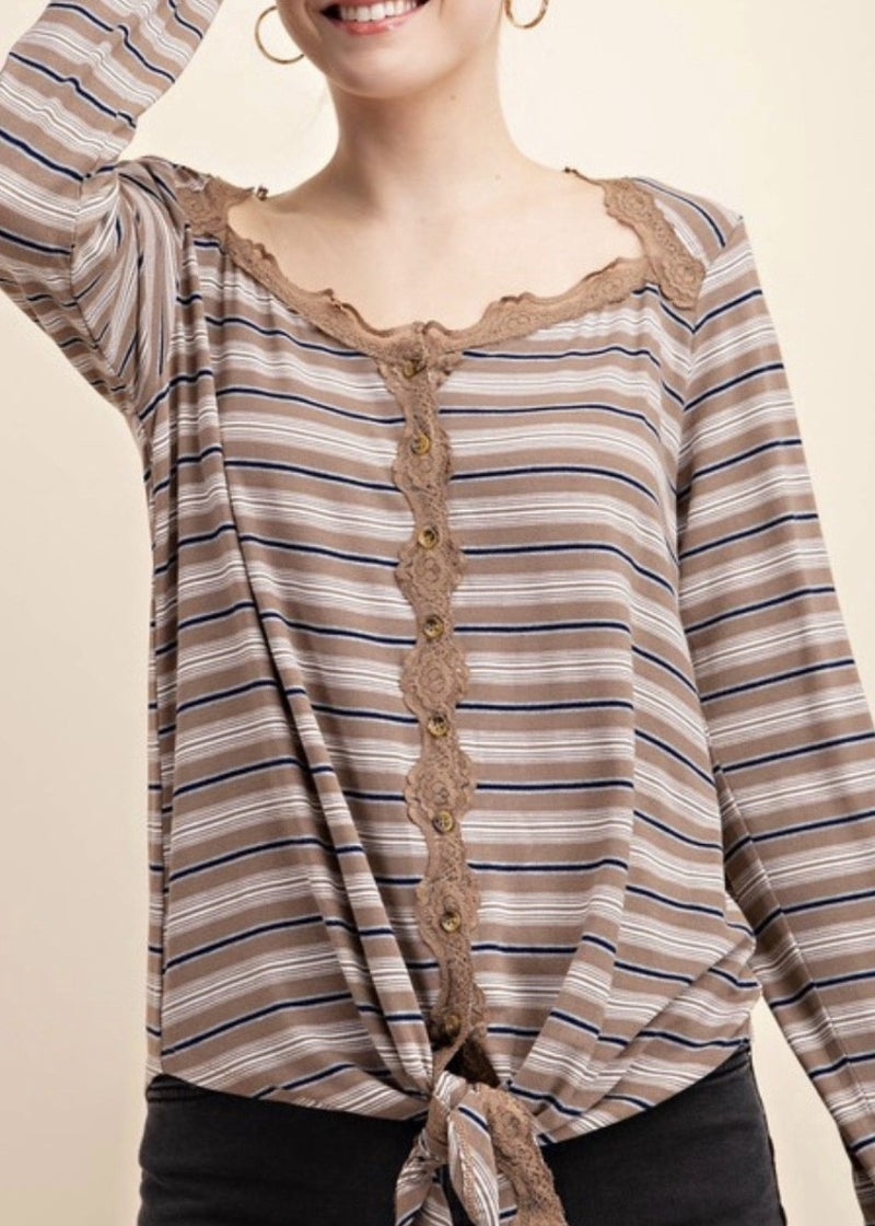 Striped Button Down Knit Top *Final Sale*