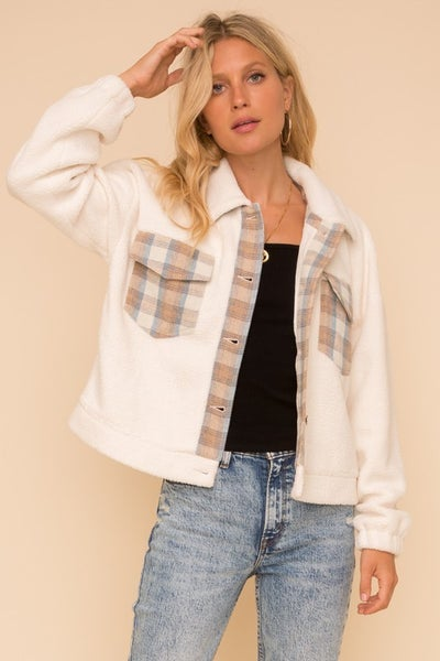 Soft Fleece Plaid Detail Oversized Jacket