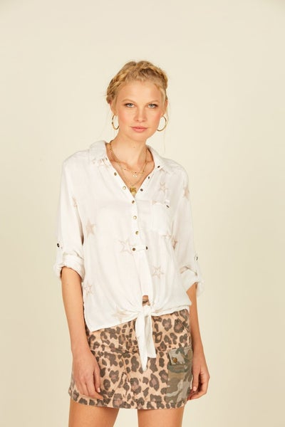 Fresh White and Gold Star Embroidered Shirt