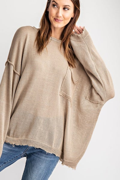 Olive Long Sleeve Knit Pullover Top