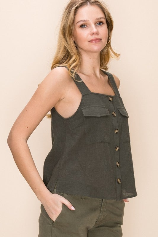 Olive Utility Linen Tank Top