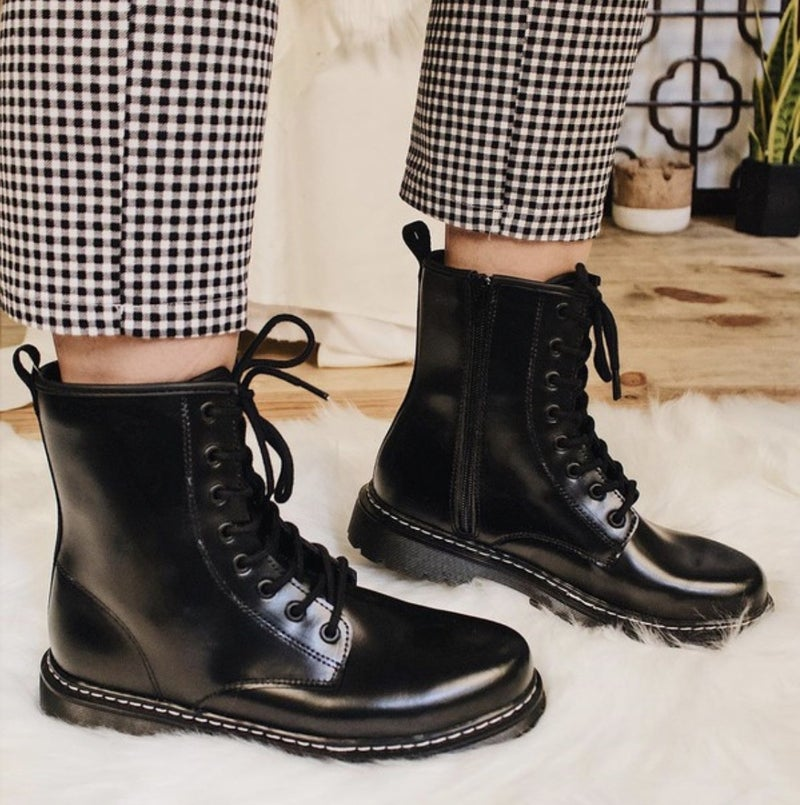 Black Leather Combat Boots *Final Sale*