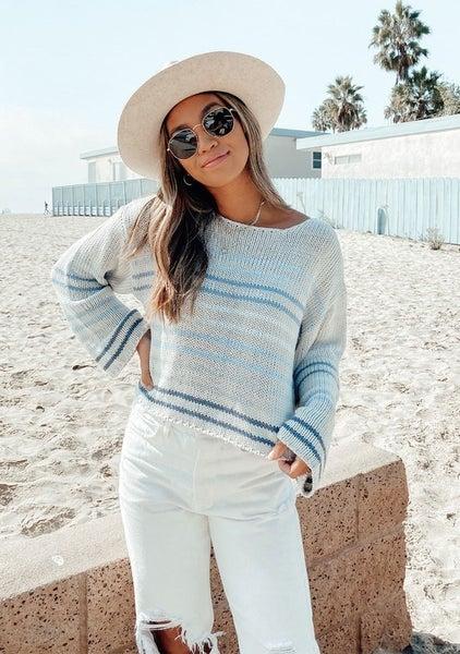 Multicolored Striped Knit Pullover Sweater