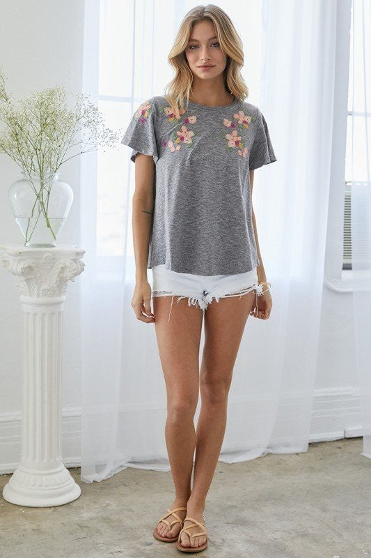 Embroidery Flutter Sleeve Top