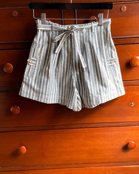 High-waisted Striped Chambray Shorts *Final Sale*