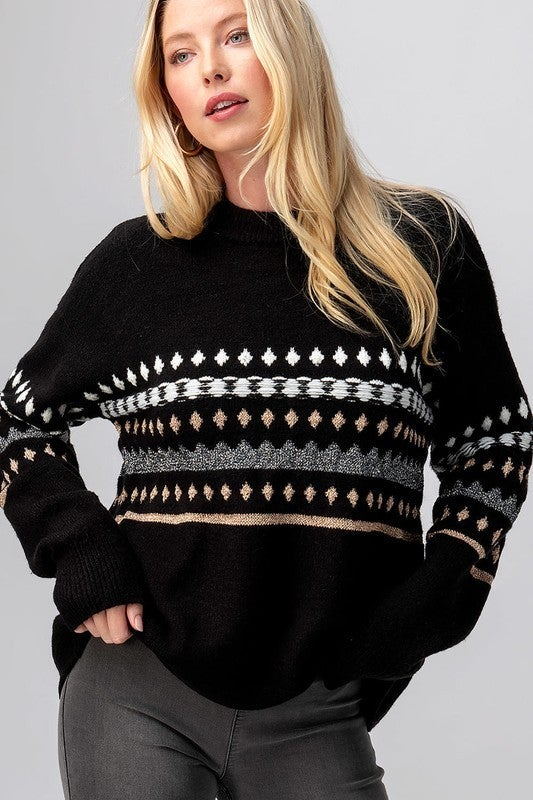 Geo Knit Drop Shoulder Sweater *Final Sale*