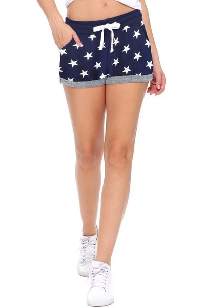 Navy Terry Shorts With Star Print