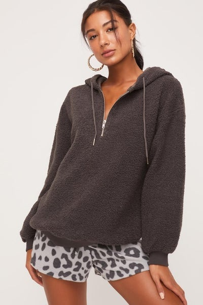 Charcoal Super Soft Fuzzy Hooded Pullover