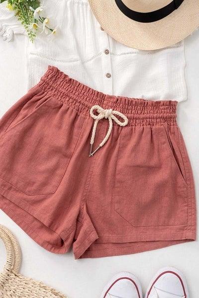 Rope Drawstring Linen Shorts