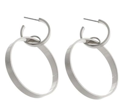 Metal Linked Drop Hoop Earrings