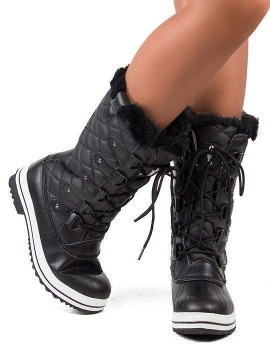 Insulated Lace Up Furry Snow Boots *Final Sale*