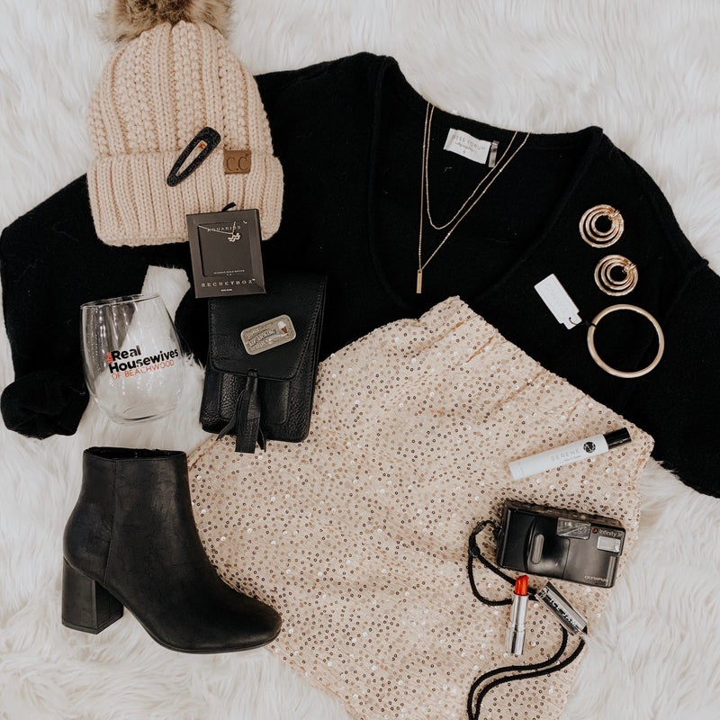 Beige Sequin Mini-Skirt *Final Sale*