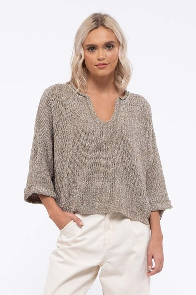 Sage Split Neck Sweater Top