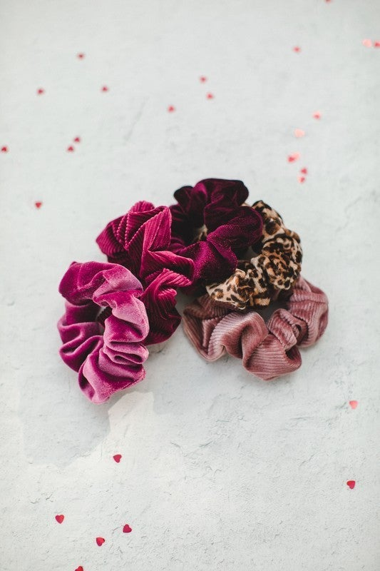 5-Pack Velvet Valentine's Day Scrunchies