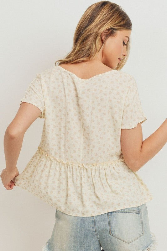 Cream Flounce Front Tied Top