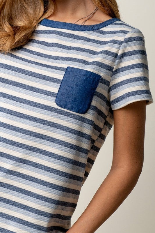 Striped Rib Tee with Chambray Pocket