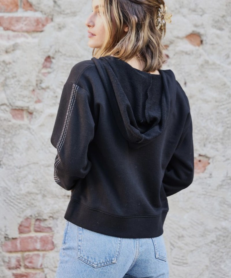 French Terry Hooded Pullover Sweatshirt