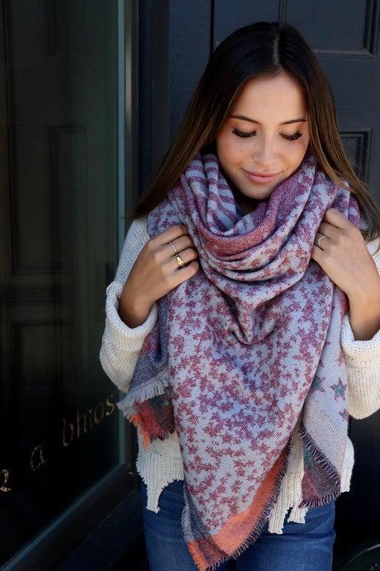 Grey Star Pattern Blanket Scarf