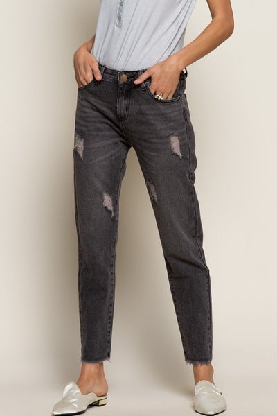 Black Distressed High Waisted Denim