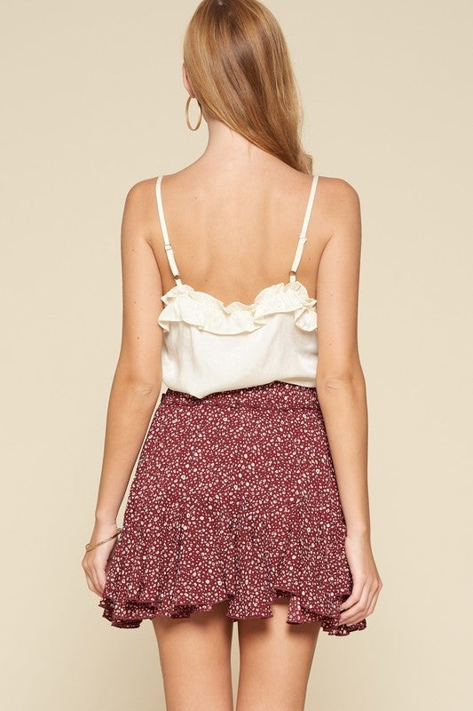 Burgundy Ditzy Leopard Ruffle Mini Skirt