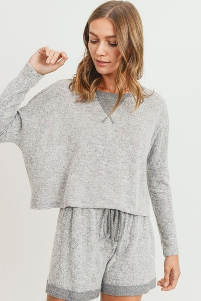 Grey Contrast Dorito Casual Brushed Knit Top