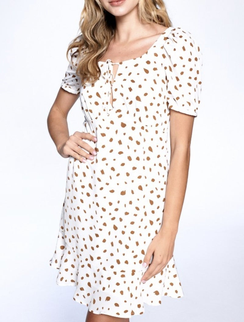 Animal Print Puff Sleeve Mini Dress