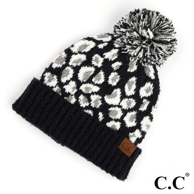 Leopard Print Jacquard Knit Pom Beanie
