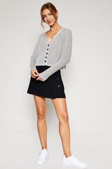 Valley Linen Button Mini Skirt Close