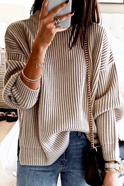Oatmeal Round Neck Ribbed Sweater