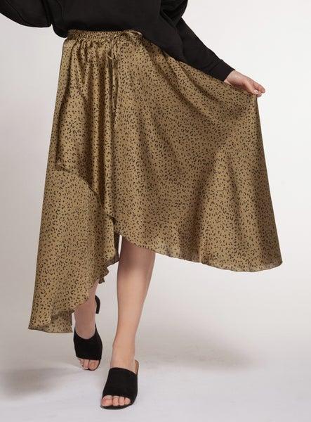 Wrap Style Leopard Skirt