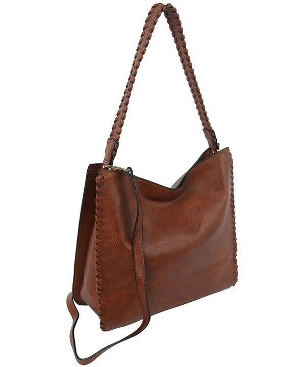 Brown Whipstitch Hobo Bag with Matching Wallet