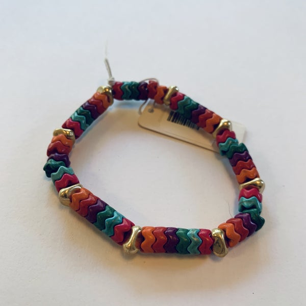 Multicolored Zigzag Tile Bracelet